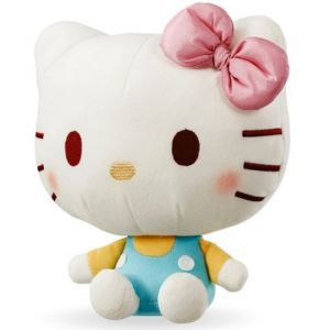Jucarie din plus Hello Kitty cu salopeta vernil si fundita roz, 20 cm