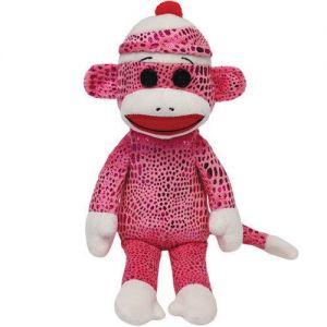 Jucarie din plus Sock Monkey Pink, 22 cm