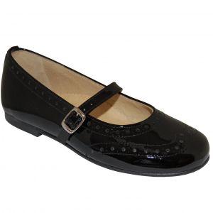 E2024 Pantofi negri din piele lacuita