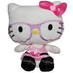 Jucarie din plus Hello Kitty cu ochelari si rochie roz, 23 cm