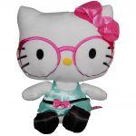 Jucarie din plus Hello Kitty cu ochelari si rochie vernil, 23 cm