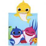 Prosop poncho cu gluga, Baby Shark, 50 x 115 cm