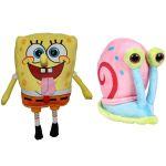 Set 2 jucarii din plus SpongeBob 16 cm si Gary 15.5 cm