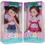 Set 2 papusi cu rochita si pantaloni Lily Dolls, 15 cm