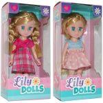 Set 2 papusi cu rochite Lily Dolls, 15cm