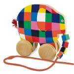 Elmer | Jucarie din lemn cu roti 14 cm
